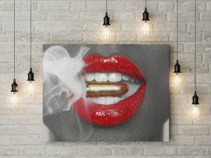 Tablou canvas Smoking Bullet Lips