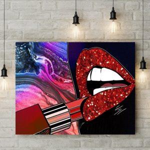 Tablou canvas Lipstic Lips Dark
