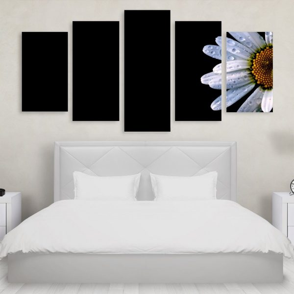 Tablou Multicanvas 5 Piese Abstract White Flowers