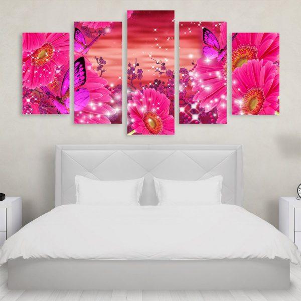 Tablou Multicanvas 5 Piese Butterfly Flowers