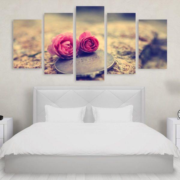 Tablou Multicanvas 5 Pink Roses