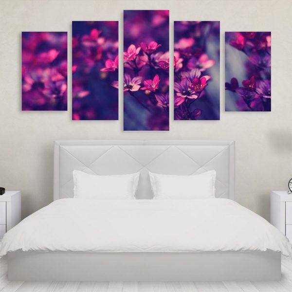 Tablou Multicanvas 5 Purple Flowers