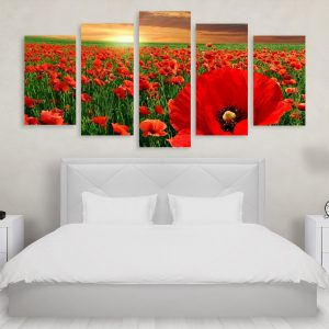 Tablou Multicanvas 5 Poppy Field