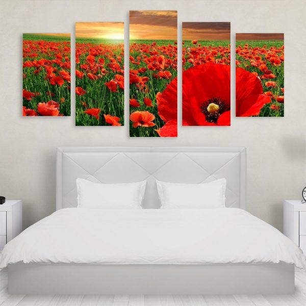 Tablou Multicanvas 5 Poppy Field