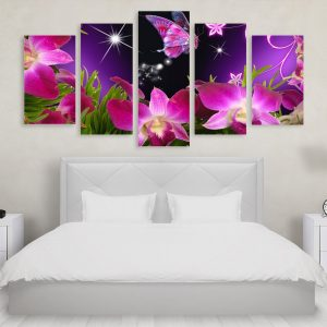 Tablou Multicanvas 5 Purple Butterfly Flower