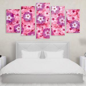 Tablou Multicanvas 5 Piese Pink Purple Flowers