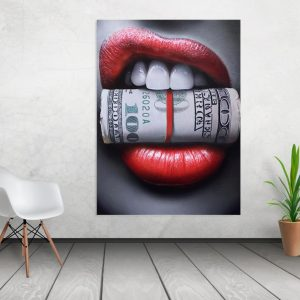 Tablou canvas Money Lips