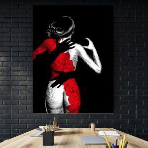 Tablou Women With Red Dress Tablouri ieftine