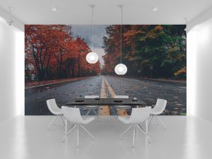 Fototapet Autumn Road - Tapet living pe un perete