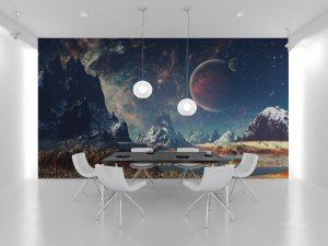 Fototapet Space Moons - Tapet camera copii