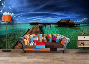 Fototapet Ocean House Ponton - Tapet 3d Baie