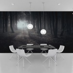 Fototapet Dark Forest - Tapet living gri